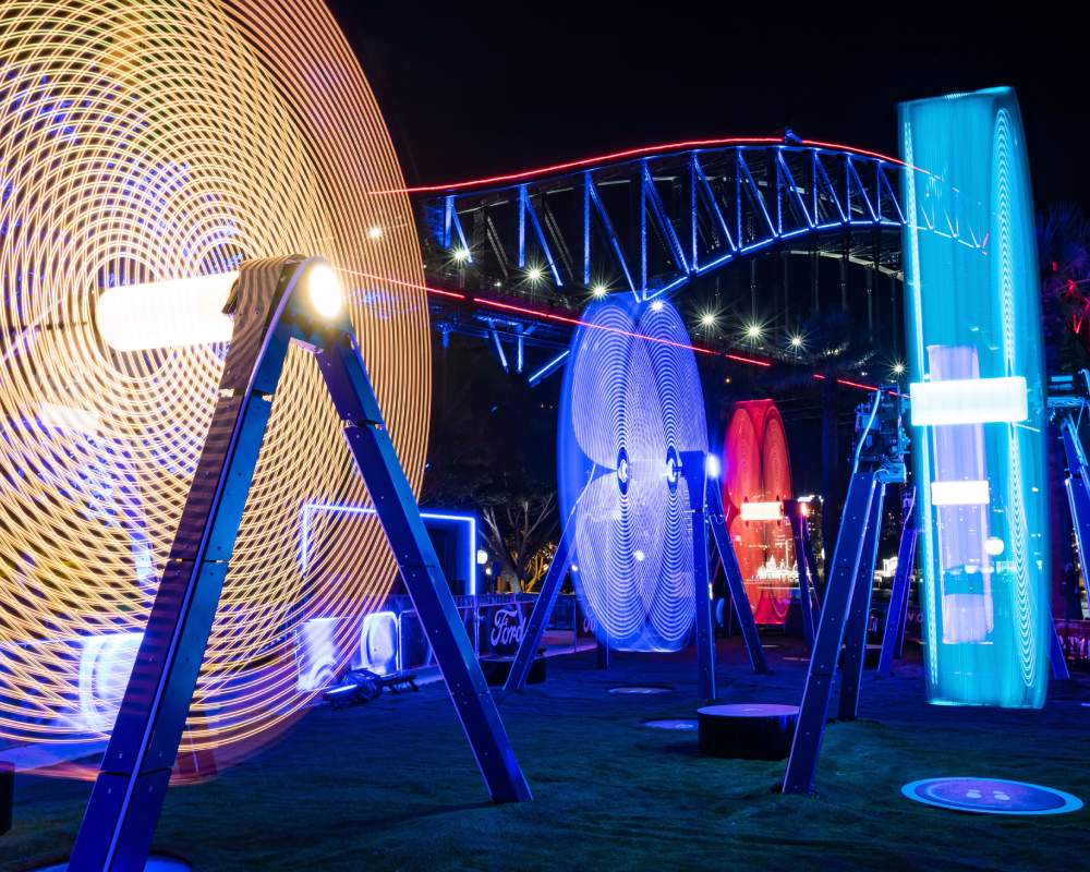 Vivid Sydney light installation in front of the Sydney Harbour Bridge